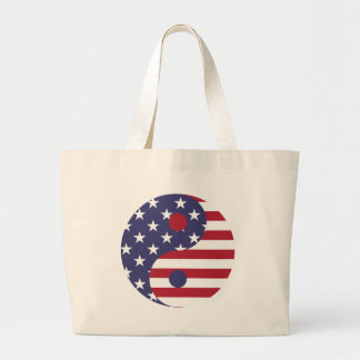 Yang Yin America Flag Abstract Art Asian Balance Large Tote Bag