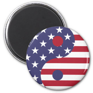Yang Yin America Flag Abstract Art Asian Balance Magnet
