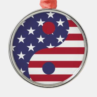Yang Yin America Flag Abstract Art Asian Balance Metal Ornament