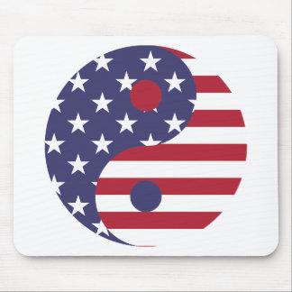 Yang Yin America Flag Abstract Art Asian Balance Mouse Pad