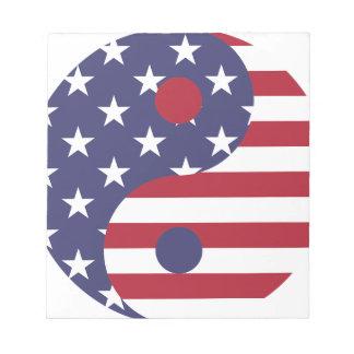 Yang Yin America Flag Abstract Art Asian Balance Notepad