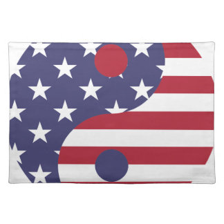 Yang Yin America Flag Abstract Art Asian Balance Placemat