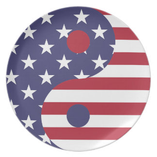Yang Yin America Flag Abstract Art Asian Balance Plate