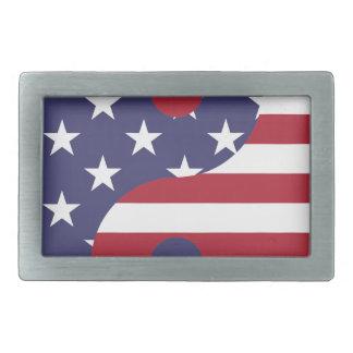Yang Yin America Flag Abstract Art Asian Balance Rectangular Belt Buckle