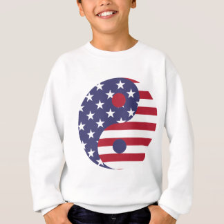 Yang Yin America Flag Abstract Art Asian Balance Sweatshirt