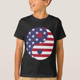 Yang Yin America Flag Abstract Art Asian Balance T-Shirt