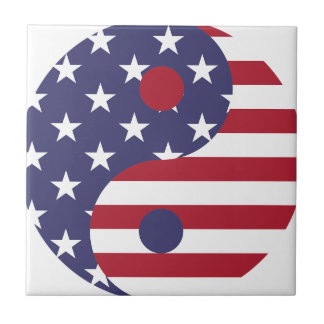 Yang Yin America Flag Abstract Art Asian Balance Tile