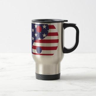 Yang Yin America Flag Abstract Art Asian Balance Travel Mug