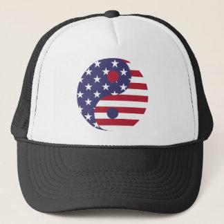 Yang Yin America Flag Abstract Art Asian Balance Trucker Hat