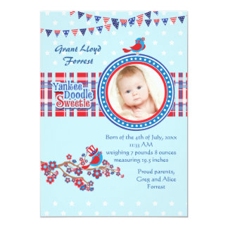 Yankee Doodle Sweetie Boy Photo Birth Announcement