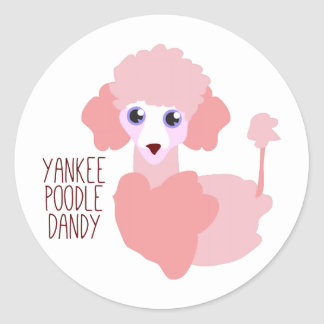 Yankee Poodle Dandy Round Stickers