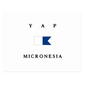 Yap Micronesia Alpha Dive Flag Postcard