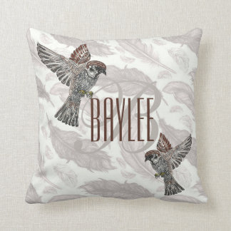 YAP   Tribal Sparrowhawk   Youth Art Project Throw Pillow