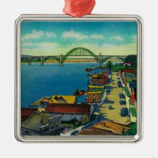 Yaquina Bay Bridge and waterfront Newport, OR Silver-Colored Square Ornament