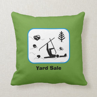 Yard Sale - Funny Skiing Wipe Out Design with Text Throw Pillow
