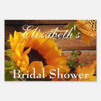 Yard Sign, Bridal Shower Rustic Country Sunflower Sign