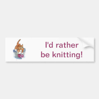 Yarn Maniac - wild kitten VS Yarn Bumper Sticker