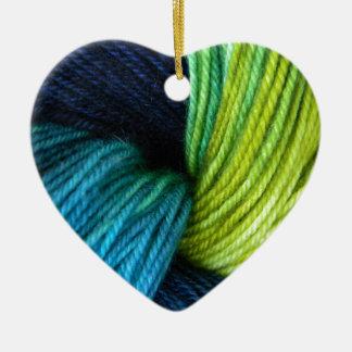 Yarn print, knitting, crochet ceramic ornament