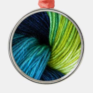 Yarn print, knitting, crochet metal ornament