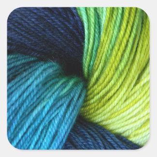 Yarn print, knitting, crochet square sticker