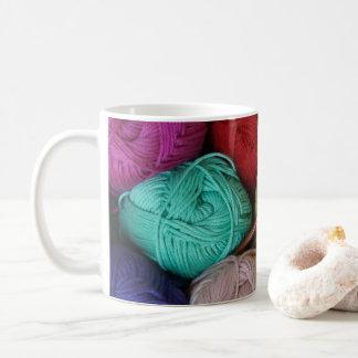 Yarn Skeins with Wooden Knitting Needles Coffee Mug