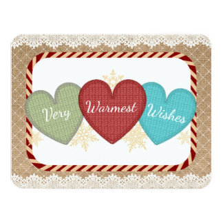 Yarn sweater hearts knitting crochet Christmas Card
