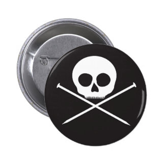 YarnCore Skull and Cross Needles 2 Inch Round Button