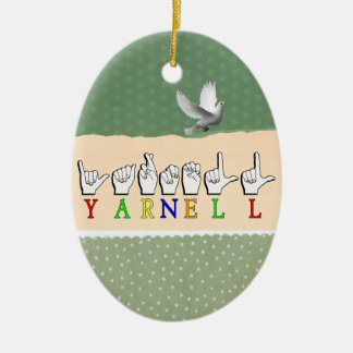 YARNELL FINGERSPELLED ASL NAME SIGN CERAMIC ORNAMENT