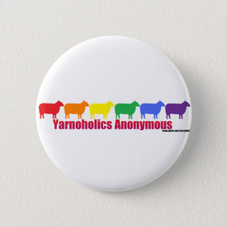 Yarnoholics Anonymous Rainbow Sheep 2 Inch Round Button
