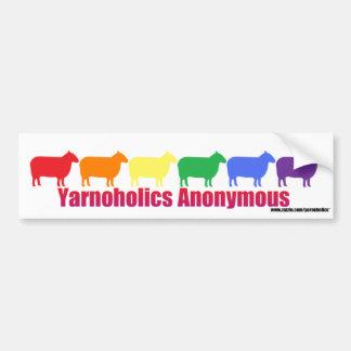 Yarnoholics Anonymous Rainbow Sheep Bumper Sticker