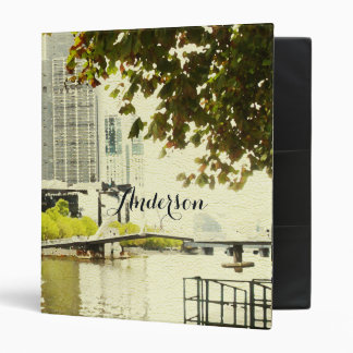 YARRA RIVER MELBOURNE PAINTING LEATHER MONOGRAM 3 RING BINDERS