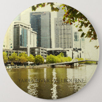 YARRA RIVER MELBOURNE PAINTING LEATHER MONOGRAM 6 INCH ROUND BUTTON