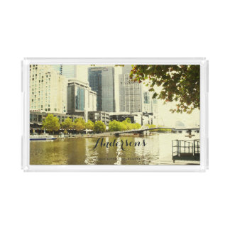 YARRA RIVER MELBOURNE PAINTING LEATHER MONOGRAM ACRYLIC TRAY