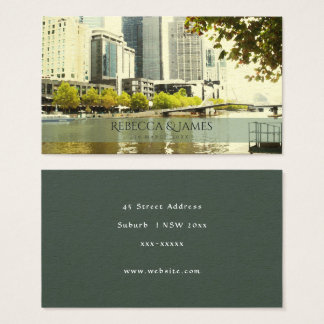YARRA RIVER MELBOURNE PAINTING LEATHER MONOGRAM BUSINESS CARD