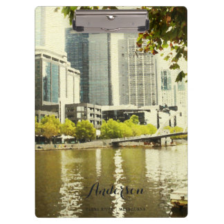 YARRA RIVER MELBOURNE PAINTING LEATHER MONOGRAM CLIPBOARD