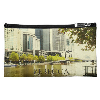 YARRA RIVER MELBOURNE PAINTING LEATHER MONOGRAM COSMETICS BAGS