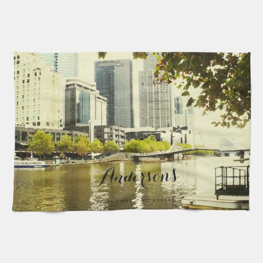 YARRA RIVER MELBOURNE PAINTING LEATHER MONOGRAM HAND TOWELS