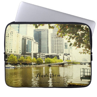 YARRA RIVER MELBOURNE PAINTING LEATHER MONOGRAM LAPTOP SLEEVE