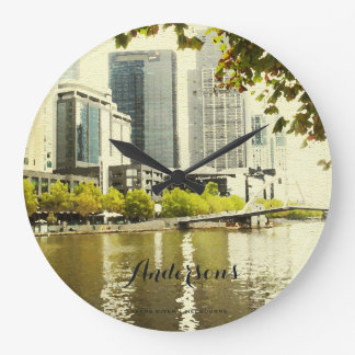 YARRA RIVER MELBOURNE PAINTING LEATHER MONOGRAM LARGE CLOCK