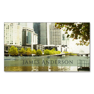 YARRA RIVER MELBOURNE PAINTING LEATHER MONOGRAM 	Magnetic BUSINESS CARD