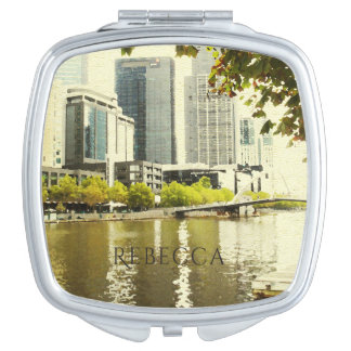 YARRA RIVER MELBOURNE PAINTING LEATHER MONOGRAM MIRROR FOR MAKEUP