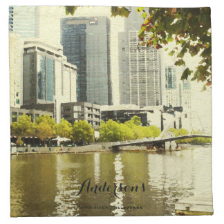 YARRA RIVER MELBOURNE PAINTING LEATHER MONOGRAM NAPKIN