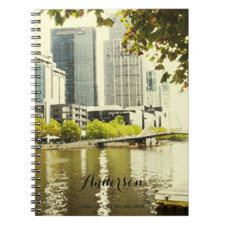YARRA RIVER MELBOURNE PAINTING LEATHER MONOGRAM NOTEBOOK