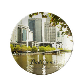 YARRA RIVER MELBOURNE PAINTING LEATHER MONOGRAM PLATE