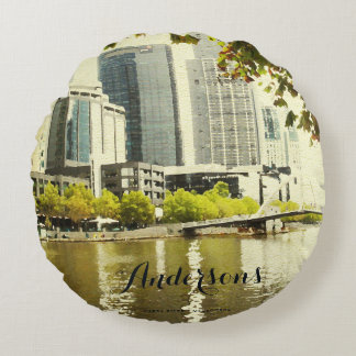 YARRA RIVER MELBOURNE PAINTING LEATHER MONOGRAM ROUND PILLOW