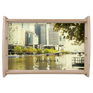 YARRA RIVER MELBOURNE PAINTING LEATHER MONOGRAM SERVING TRAY