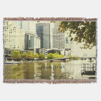 YARRA RIVER MELBOURNE PAINTING LEATHER MONOGRAM THROW BLANKET