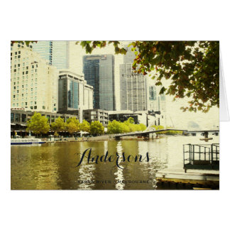 YARRA RIVER MELBOURNE PAINTING MONOGRAM GREETING CARD