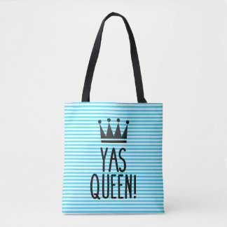 Yas Queen! Blue and White Striped Pattern Tote