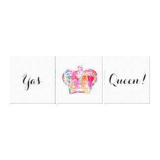 Yas Queen! Bright Watercolor Crown Design Canvas Print